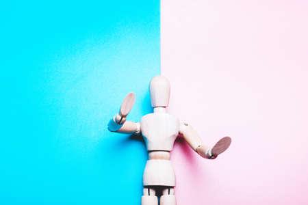 Concept of Finism, Gender. Mock up of man on pink and blue background Standard-Bild