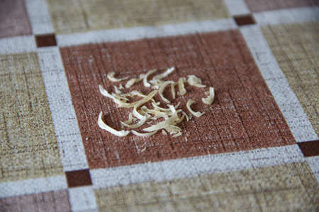 Clipped nails on the table, isolated Imagens