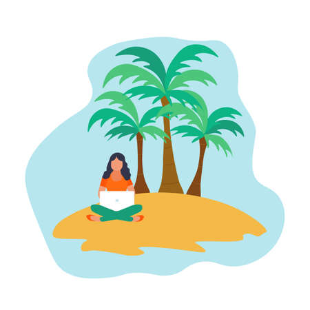 Work outside the office. Freelance or study concept. Girl chatting or working on the island with palm trees. Cute vector illustration in flat style.