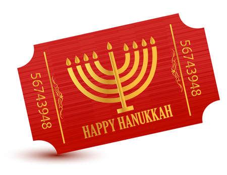 golden religious symbols: Happy hanukkah event ticket illustration