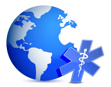 health check: globe with medical symbol illustration design
