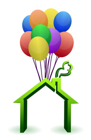 home moving: A house lifted by Balloons - illustration designs