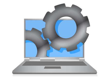 remote server: Laptop cloud computing gears illustration design