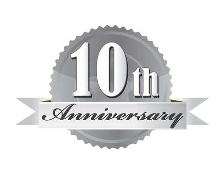anniversary party: 10 � anniversario design illustrazione sigillo su bianco