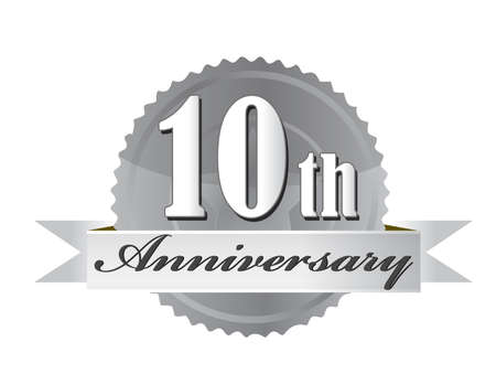 silver anniversary: 10th anniversary seal illustration design on white