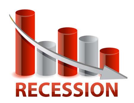 crisis economica: recesi�n gr�fica roja de negocios, ilustraci�n, dise�o Vectores
