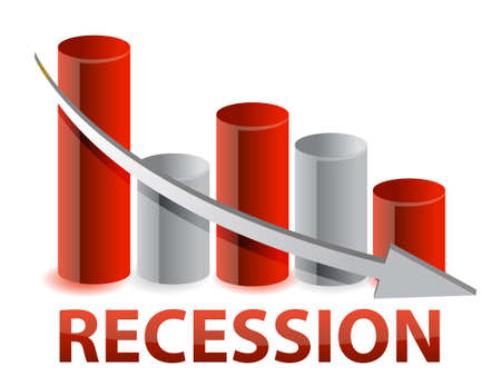 slump: recession red business graph illustration design