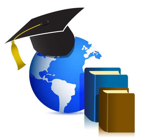 Global Education concept design illustration on white Vector