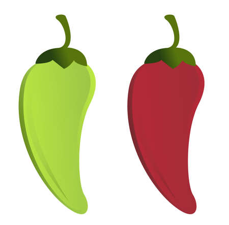 red and green Jalape�os on a white background