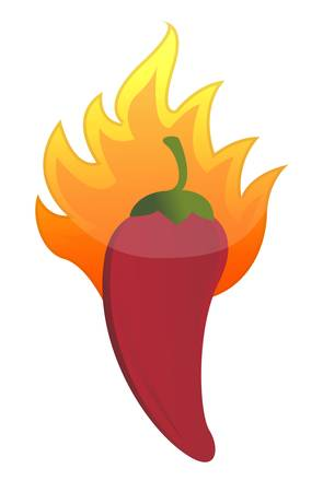red hot chili pepper on fire illustration design Vector