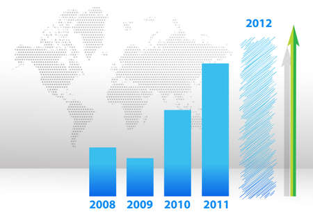 blue years bar chart illustration design with map background Vector