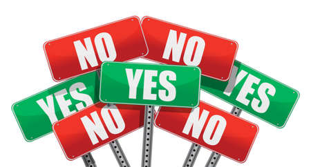 yes and no signs illustration design