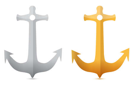 gold and silver anchors illustrations designs on white Vector