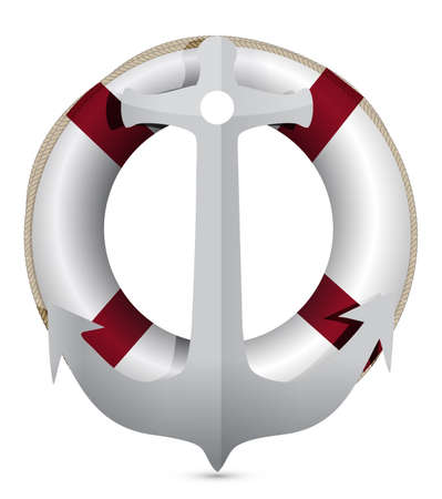 lifebuoy with anchor illustration design on white Vector
