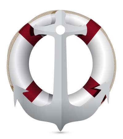 lifebuoy with anchor illustration design on white Иллюстрация