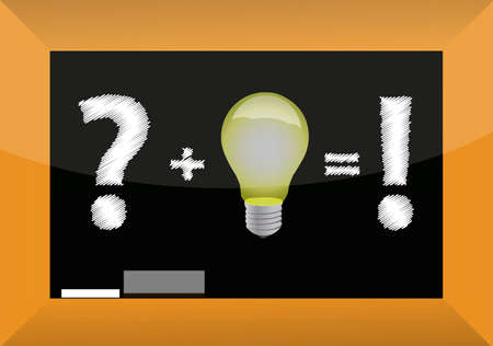 conceptual bulb: Concept of problem solving by good idea on blackboard Illustration