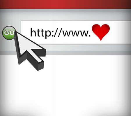 net surfing: Computer Screen, concetto di amore in illustrazione cyberspazio