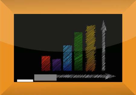 Business graph on a blackboard illustration design  Çizim