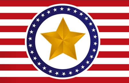etoile or: Etats-Unis d'or star du design illustration du pavillon