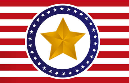 US gold star flag illustration design  Иллюстрация