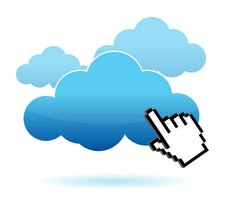 Cursor icon hand clicking on a cloud illustration design