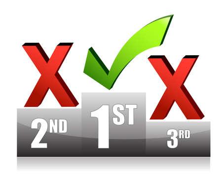 Success concept podium check mark illustration design