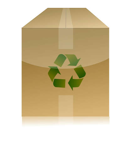 recycled paper: cardboard box with recycle symbol on white background