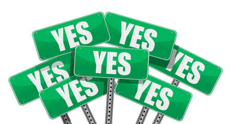 yes or no: green yes signs illustration design on white background