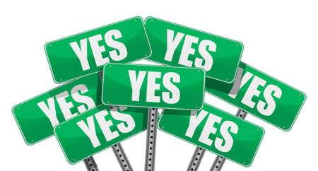 green yes signs illustration design on white background Stock fotó - 11226210