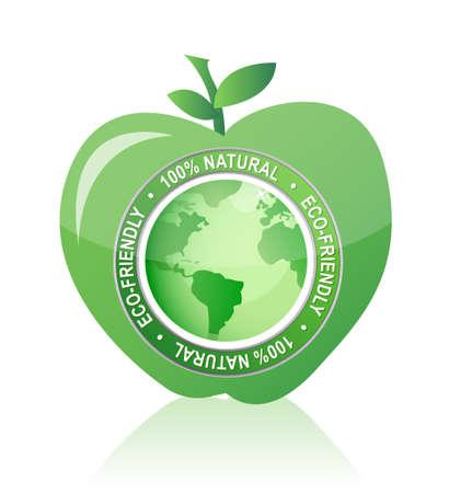 Apple Label 100% natuurlijke eco-vriendelijk afdichting illustratie Stock Illustratie