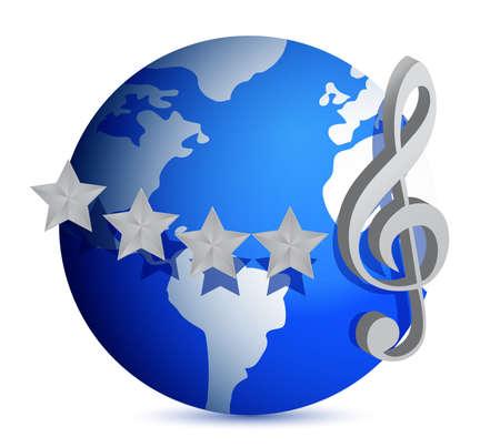 wereldbol met muziek noot illustratie ontwerp over wit Stock Illustratie
