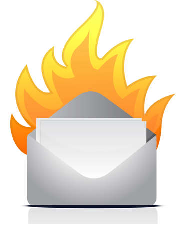 envelope letter on fire illustration design over white