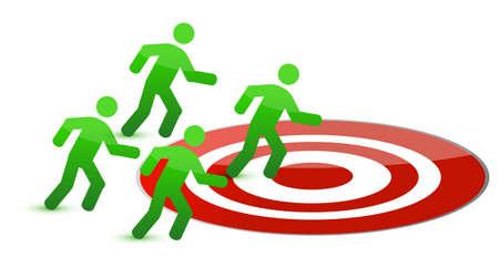 team running to target illustration design on white Stock Vector - 11226222