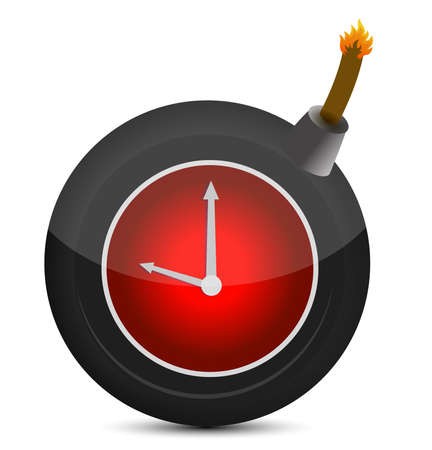 sabotage: Clock in a bomb. Illustration on white background
