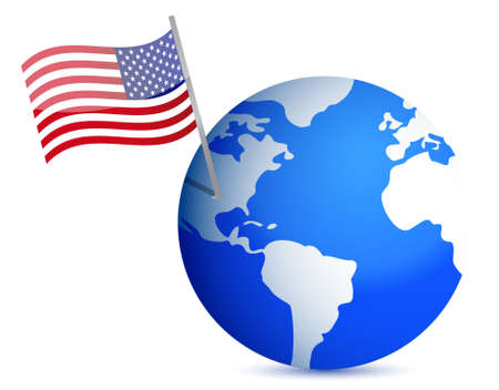 continente americano: planeta tierra con la bandera de EE.UU.. ilustración, diseño en blanco Vectores