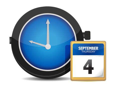 calendar icon: Time concept. Clock and calendar illustration design
