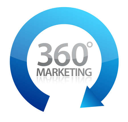 arrows circle: 360 degrees marketing illustration design on white