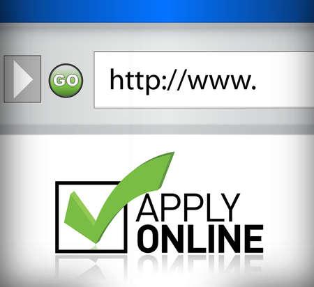 communication occupation: finestra del browser mostra le parole applicare il design online illustrazione Vettoriali