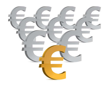 golden and silver euro symbols illustration design  Ilustrace