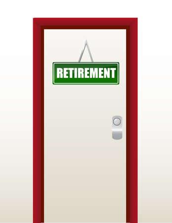 deur met groene pensioen teken illustratie ontwerp