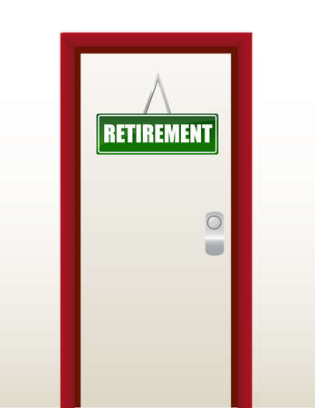 transitional: door with green retirement sign illustration design  Illustration