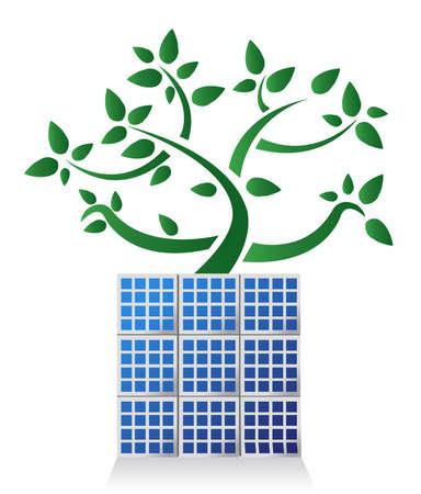 Solar panel plant illustration design , on white background
