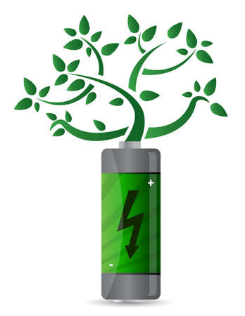 tree growing from the battery illustration design Stock Vector - 11356721