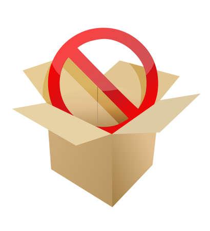 forbid: Red stop symbol in carton box illustration design