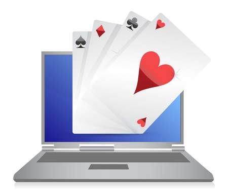 online gambling cards game illustration design on white Stock Vector - 11356720
