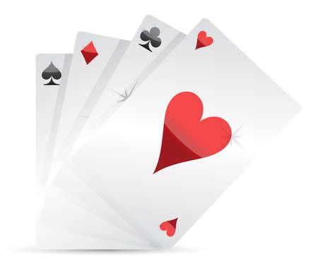 coeur diamant: Jouer jeu de conception d'illustration de cartes sur fond blanc