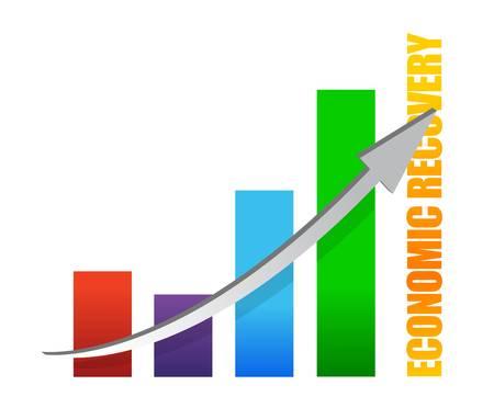 economic recovery: economy recovery chart arrow illustration design on white Illustration