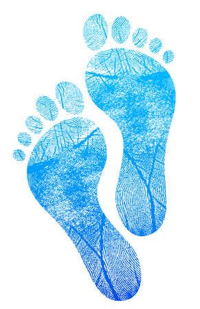 huellas de pies: feetprint diseño azul de la ilustración sobre fondo blanco Vectores