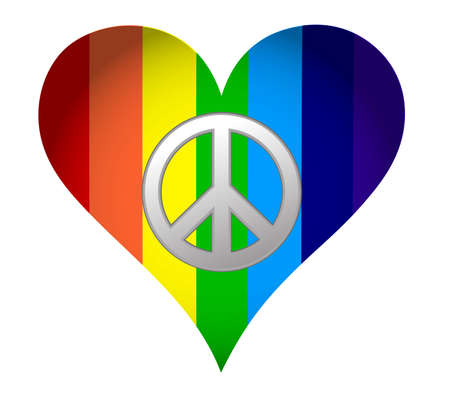 rainbow hearth with peace sign over white Stock Vector - 11356789
