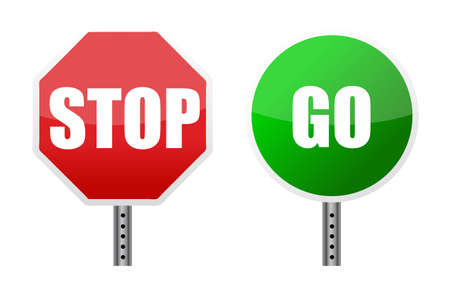 with stop sign: stop go sign illustrations over a white background